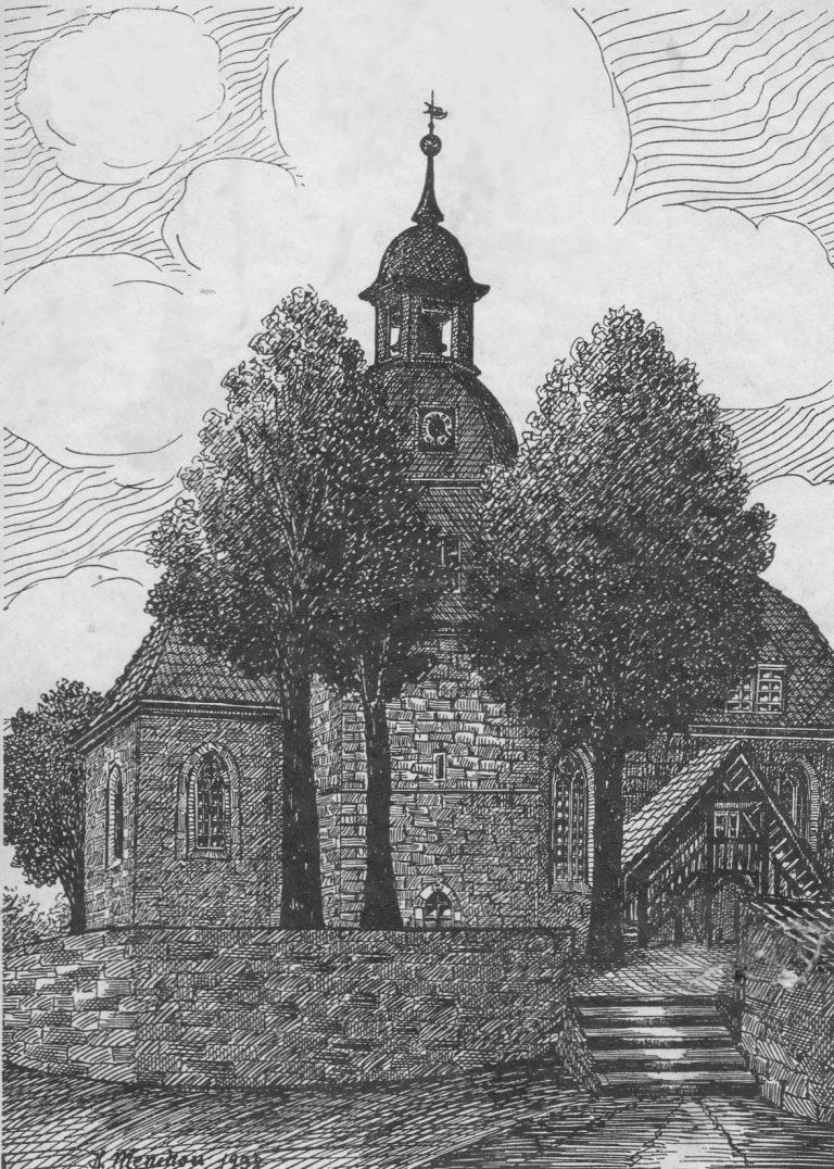 1938 Kirche Neunheilingen. Federzeichnung Herbert Menchau